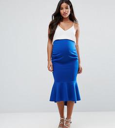 Облегающая юбка миди с баской и посадкой над животом ASOS Maternity - Синий