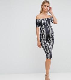 Полосатое платье с широким вырезом и открытыми плечами ASOS Maternity PETITE - Черный