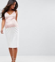 Платье на бретельках с кружевным верхом ASOS Maternity TALL - Белый