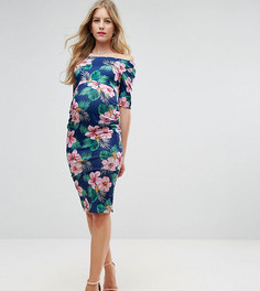 Платье с открытыми плечами, рукавами до локтя и цветочным принтом ASOS Maternity - Темно-синий