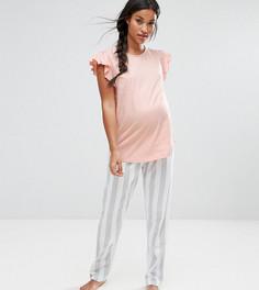 Пижамный комплект с оборками на плечах и полосатым низом ASOS Maternity - Мульти