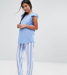 Пижамный комплект с оборками на плечах и полосатым низом ASOS Maternity - Синий
