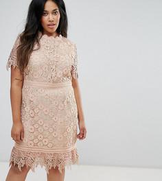 Кружевное платье мини со вставками Truly You - Розовый