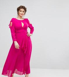 Платье макси с вырезами на плечах, оборками и поясом Truly You - Розовый