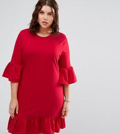 Платье А-силуэта с оборками на рукавах и по краю Alice & You - Красный