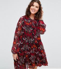 Свободное платье с длинными рукавами и завязкой на шее Alice & You - Мульти