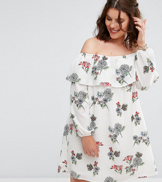 Платье с открытыми плечами и оборкой Alice & You - Мульти