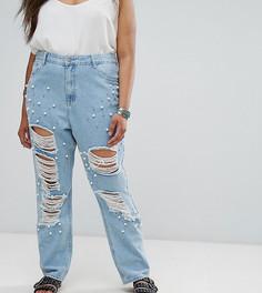Состаренные джинсы бойфренда с отделкой жемчугом Alice & You - Синий