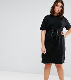 Платье‑футболка с отделкой в стиле корсета Alice & You - Черный