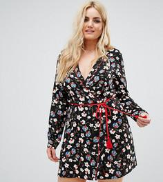 Короткое приталенное платье с запахом, контрастной отделкой и веревочным поясом Alice & You - Мульти