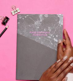 Розовый блокнот формата A4 с мраморным принтом Ohh Deer - Мульти