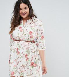 Платье с принтом птиц Yumi Plus - Кремовый