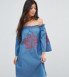 Джинсовое платье с вышивкой и открытыми плечами Parisian Petite - Синий