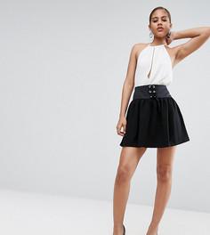 Фактурная мини-юбка с корсетом ASOS TALL - Черный
