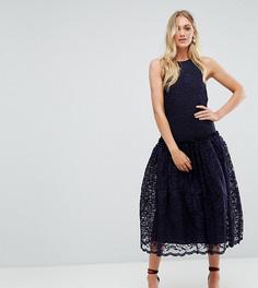 Кружевное платье миди с заниженной талией ASOS TALL - Темно-синий