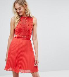Платье мини с кружевной отделкой и плиссированной юбкой ASOS TALL - Красный