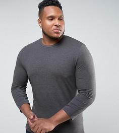 Обтягивающая футболка с рукавами длиной 3/4 ASOS PLUS - Серый
