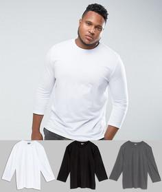 Набор из 3 футболок с рукавами длиной 3/4 ASOS PLUS - СКИДКА - Мульти