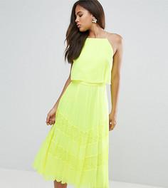 Приталенное платье миди с кружевом и кроп-топом ASOS TALL - Мульти