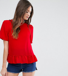 Тканая футболка с оборкой по краю ASOS TALL - Красный