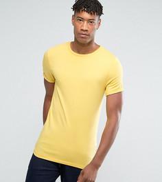 Желтая обтягивающая футболка с отворотами на рукавах ASOS TALL - Желтый