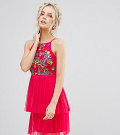 Короткое приталенное платье с вышивкой и тюлевой юбкой Frock And Frill Petite - Оранжевый