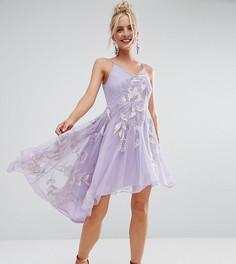 Асимметричное платье миди на бретельках с вышивкой и глубоким вырезом на спине Frock And Frill Petite - Фиолетовый