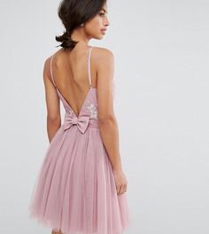 Платье мини для выпускного из тюля с декорированным верхом и бантом на спине Little Mistress Petite - Розовый