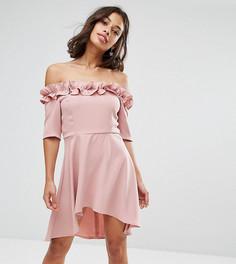 Приталенное платье с открытыми плечами и оборками Paper Dolls Petite - Розовый