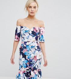 Платье-футляр с открытыми плечами, цветочным принтом и оборками Paper Dolls - Мульти