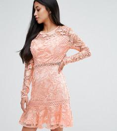 Кружевное приталенное платье с расклешенными рукавами True Decadence Petite - Розовый