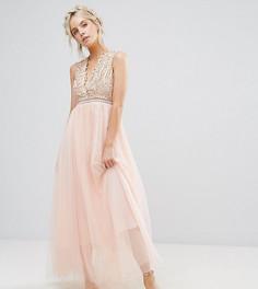 Премиум-платье макси с аппликацией и юбкой из тюля True Decadence Petite - Розовый