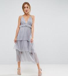 Платье миди из тюля с оборками True Decadence Petite Premium - Серый