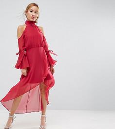Платье миди премиум-класса с вырезами на плечах и рукавами-клеш True Decadence Petite - Розовый
