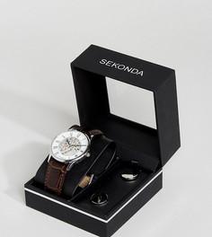 Подарочный набор из часов с кожаным ремешком и запонок Sekonda - Коричневый