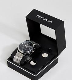 Часы с серебристым сетчатым браслетом и запонки в подарочном наборе Sekonda - Серебряный