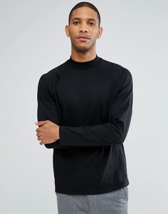 Черная свободная футболка с длинными рукавами реглан ASOS - Черный