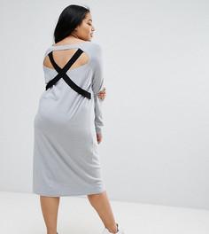 Вязаное платье с V-образным вырезом и лямками ASOS CURVE - Серый