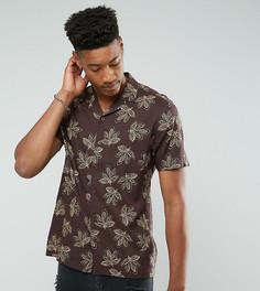 Рубашка из вискозы с принтом листьев и отложным воротником ASOS TALL - Красный