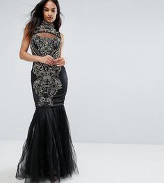 Декорированное платье макси с воротником-стойкой и юкой-годе A Star Is Born - Черный