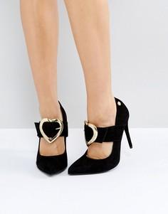 Туфли на высоком каблуке с золотистыми сердечками Love Moschino - Черный
