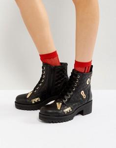 Стеганые ботинки на шнуровке Love Moschino - Черный