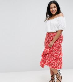 Ярусная юбка миди с цветочным принтом Influence Plus - Красный