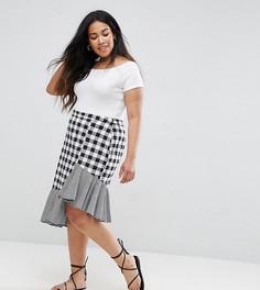 Асимметричная юбка миди в клетку Influence Plus - Выбирай и комбинируй - Мульти