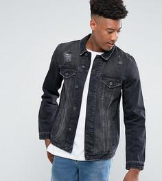 Черная выбеленная джинсовая куртка с рваной отделкой ASOS TALL - Черный