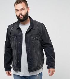 Черная джинсовая куртка с рваной отделкой ASOS PLUS - Черный