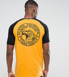 Желтая длинная футболка с рукавами реглан и принтом орла ASOS TALL - Желтый