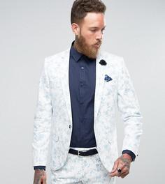 Супероблегающий пиджак с бархатистой отделкой Noose & Monkey Wedding - Белый