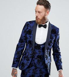 Приталенный пиджак с бархатистым узором Noose & Monkey - Синий