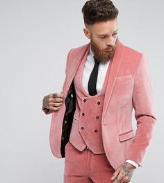 Супероблегающий пиджак из бархата Noose & Monkey - Розовый